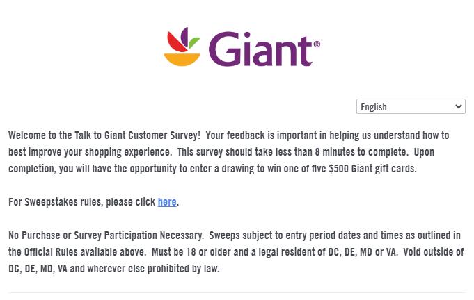 giant foods survey